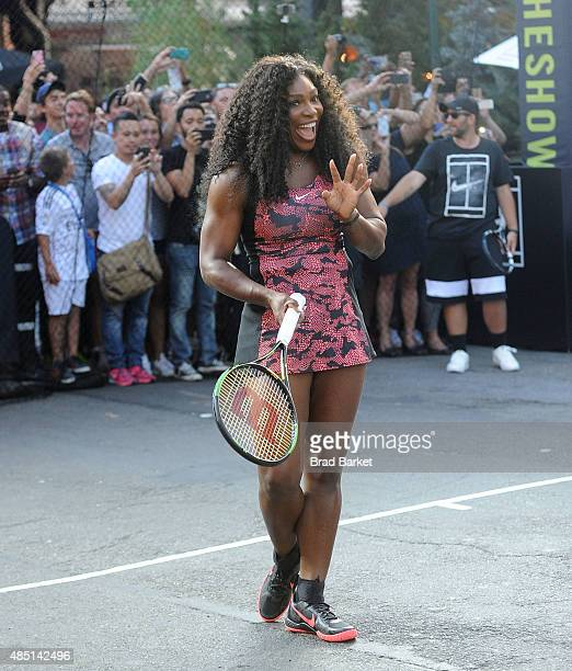 Tennis player Serena Williams attends Nike's 'NYC Street Tennis' Event on August 24 2015 in New York City