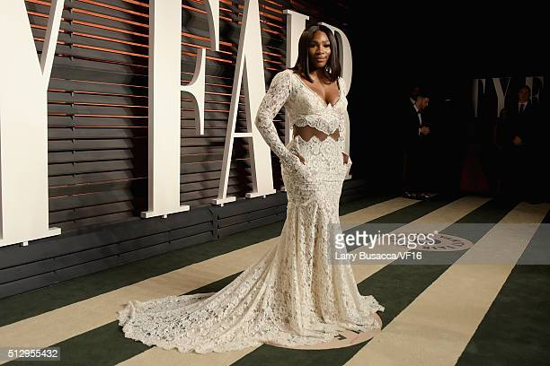Tennis player Serena Williams attends the 2016 Vanity Fair Oscar Party Hosted By Graydon Carter at the Wallis Annenberg Center for the Performing...