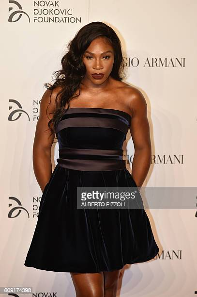 US tennis player Serena Williams attends the Charity Gala Dinner for the Novak Djokovic Foundation on September 20 2016 in Milan / AFP / ALBERTO...