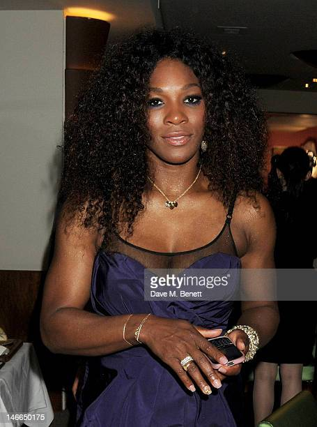 Tennis Player Serena Williams attends the WTA PreWimbledon Party presented by Dubai Duty Free at Kensington Roof Gardens on June 21 2012 in London...