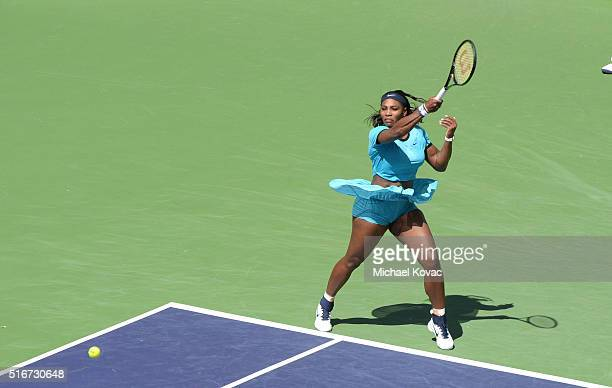 Tennis player Serena Williams plays in the BNP Paribas Open Women's Singles as seen from The Moet and Chandon Suite At The 2016 BNP Paribas Open on...