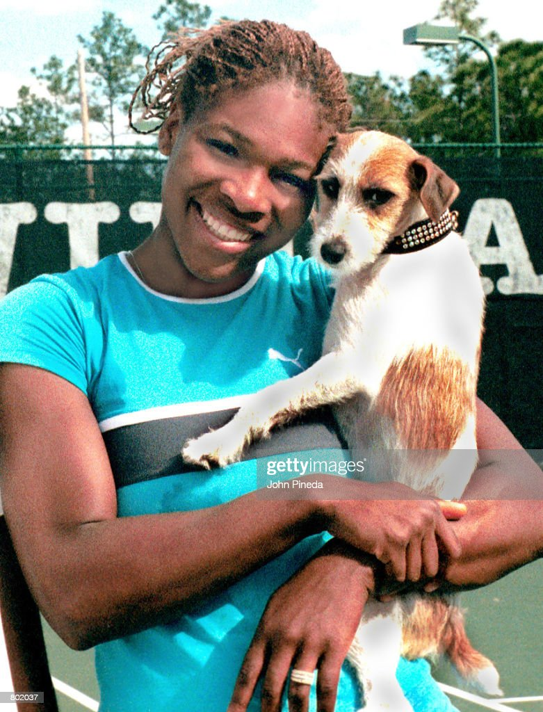 Tennis player <a gi-track='captionPersonalityLinkClicked' href=/galleries/search?phrase=Serena+Williams&family=editorial&specificpeople=171101 ng-click='$event.stopPropagation()'>Serena Williams</a> poses for a photograph with her dog Jackie February 7, 2001 in Palm Beach Gardens, FL.