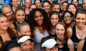 US tennis player Serena Williams poses with fitness fans after joining a sponsor's workout training club in Melbourne on January 8 2013 Top tennis...