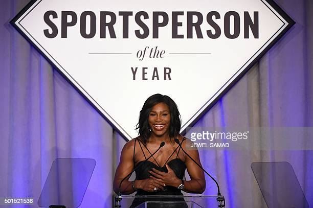 US Tennis player Serena Williams speaks after receiving the Sports Illustrated Sportsperson of the Year trophy during a ceremony in New York on...
