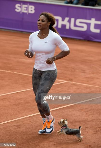 US tennis player Serena Williams warms up next to her Yorkshire terrier 'Chip' during a training session prior to her participation in the Swedish...