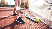 Tennis. Young man playing tennis, close up photo. Sport, recreation concept