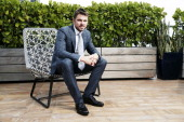 Tennis player Stanislas Wawrinka is photographed at the Eden Roc hotel on March 18 2014 in Miami Florida All clothing and accessories by Giorgio...