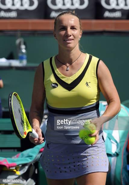 WTA tennis player Svetlana Kuznetsova gets ready to hit an autographed tennis balls into the stands after defeating Anastasia Pavlyuchenkova on March...