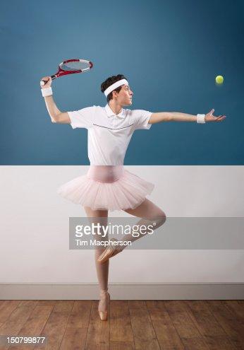 Tennis player top, ballet dancer bottom
