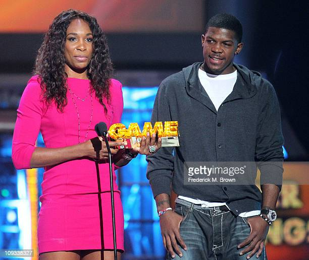 Tennis player Venus Williams and Joe Johnson of the National Basketball Association speak during the First Annual Cartoon Network's 'Hall of Game'...