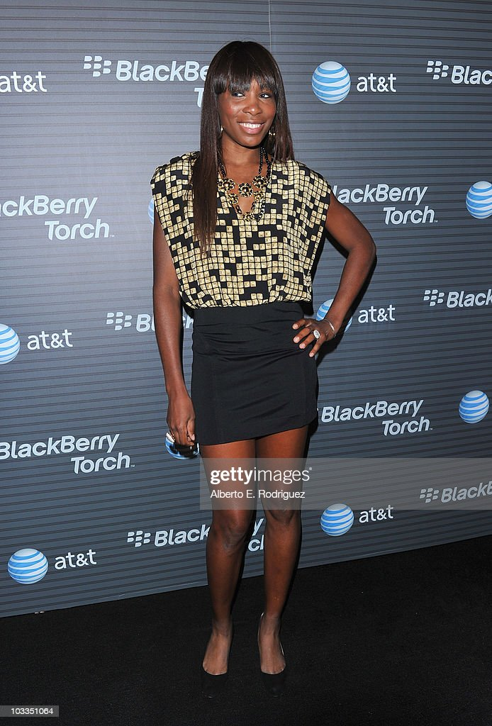 Tennis player Venus Williams arrives at the Blackberry Torch launch party on August 11 2010 in Los Angeles California