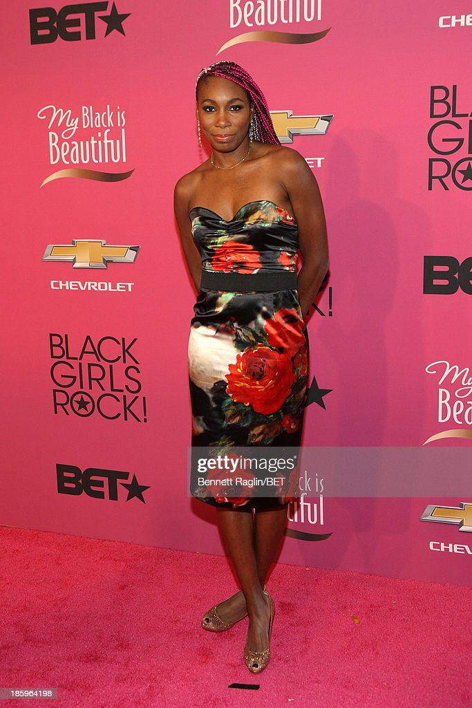 Tennis player <a gi-track='captionPersonalityLinkClicked' href=/galleries/search?phrase=Venus+Williams&family=editorial&specificpeople=171981 ng-click='$event.stopPropagation()'>Venus Williams</a> attends BET Black Girls Rock Red Carpet at New Jersey Performing Arts Center on October 26, 2013 in Newark, New Jersey.