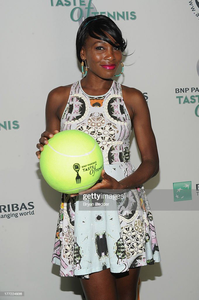 Tennis player <a gi-track='captionPersonalityLinkClicked' href=/galleries/search?phrase=Venus+Williams&family=editorial&specificpeople=171981 ng-click='$event.stopPropagation()'>Venus Williams</a> attends the 14th Annual BNP Paribas Taste Of Tennis at W New York Hotel on August 22, 2013 in New York City.