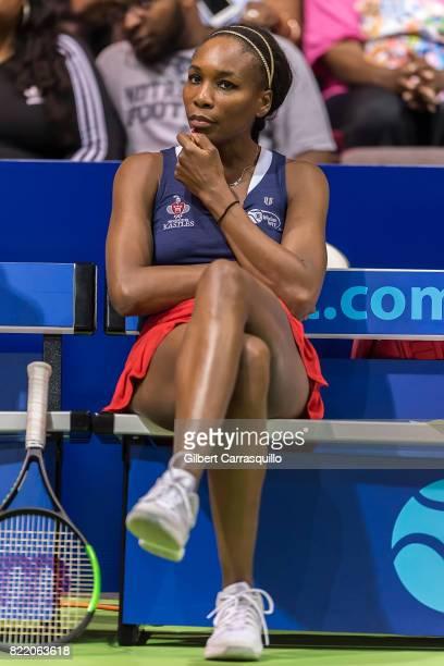 Tennis player Venus Williams attends the 2017 Mylan World TeamTennis Washington Kastles vs Philadelphia Freedoms match at Michael J Hagan Arena at St...