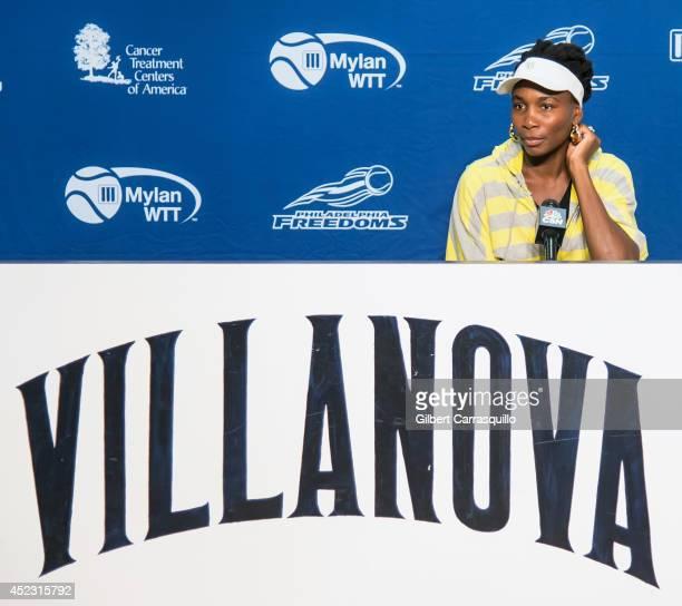 Tennis player Venus Williams attends the 'Eleven By Venus' clothing line event at Villanova University on July 17 2014 in Philadelphia Pennsylvania