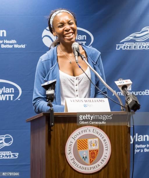 Tennis player Venus Williams holds a press conference during 2017 Mylan World TeamTennis Washington Kastles vs Philadelphia Freedoms match at Michael...