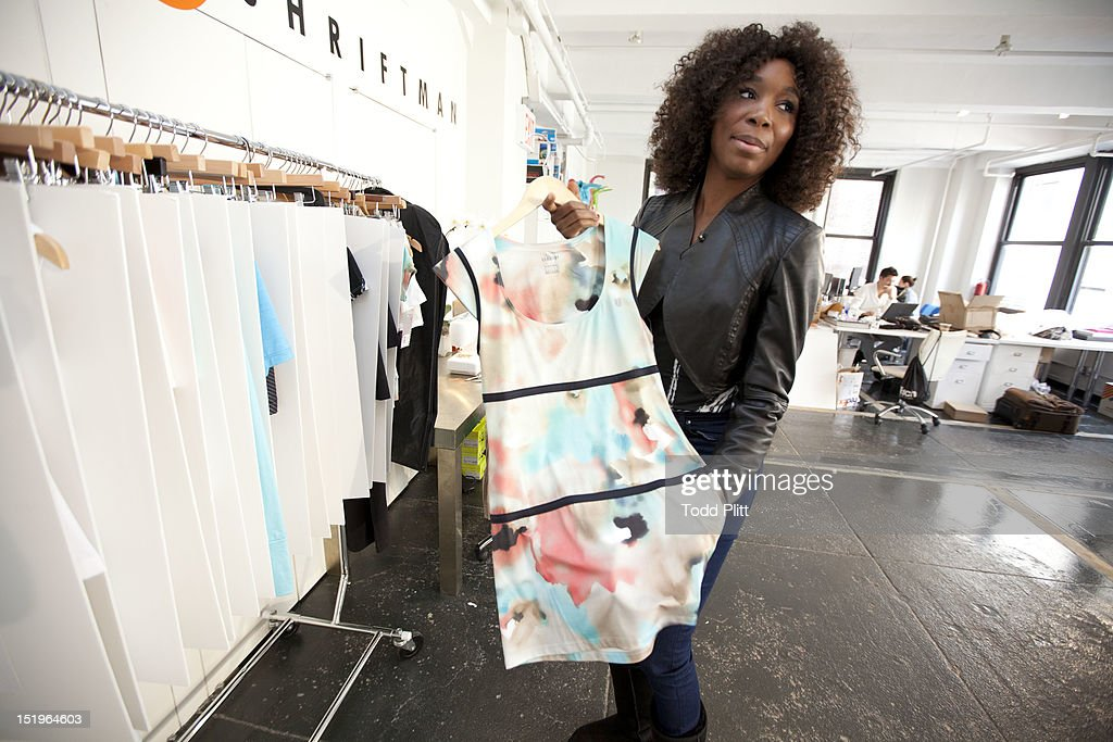 Tennis player <a gi-track='captionPersonalityLinkClicked' href=/galleries/search?phrase=Venus+Williams&family=editorial&specificpeople=171981 ng-click='$event.stopPropagation()'>Venus Williams</a> is photographed for USA Today preparing her Eleven by Venus spring collection of athletic wear for New York Fashion Week, on September 11, 2012 in New York City. PUBLISHED IMAGE.