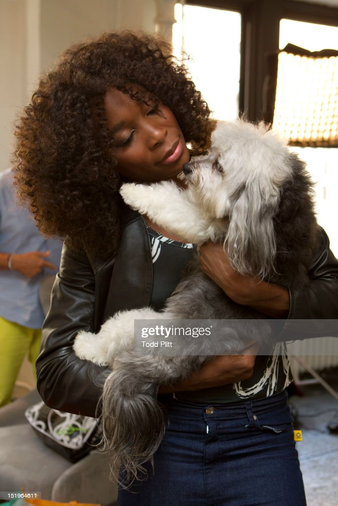 Tennis player <a gi-track='captionPersonalityLinkClicked' href=/galleries/search?phrase=Venus+Williams&family=editorial&specificpeople=171981 ng-click='$event.stopPropagation()'>Venus Williams</a> is photographed for USA Today preparing her Eleven by Venus spring collection of athletic wear for New York Fashion Week, on September 11, 2012 in New York City.