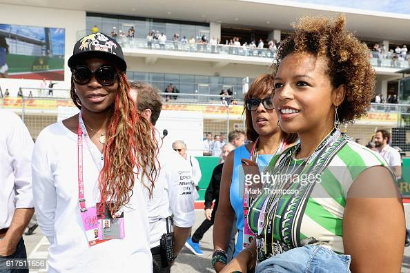 Tennis player Venus Williams on the grid before the United States Formula One Grand Prix at Circuit of The Americas on October 23 2016 in Austin...