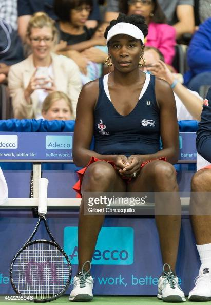 Tennis player Venus Williams sits courtside at the 'Eleven By Venus' clothing line event at Villanova University on July 17 2014 in Philadelphia...