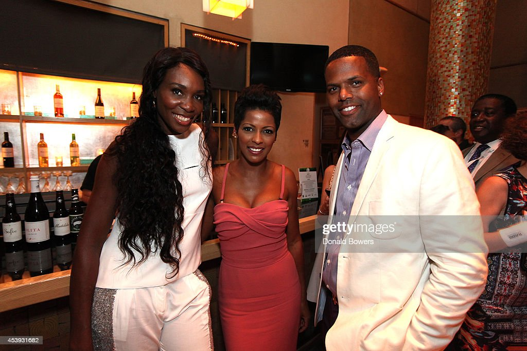 Tennis player <a gi-track='captionPersonalityLinkClicked' href=/galleries/search?phrase=Venus+Williams&family=editorial&specificpeople=171981 ng-click='$event.stopPropagation()'>Venus Williams</a>, <a gi-track='captionPersonalityLinkClicked' href=/galleries/search?phrase=Tamron+Hall&family=editorial&specificpeople=5933064 ng-click='$event.stopPropagation()'>Tamron Hall</a>, and <a gi-track='captionPersonalityLinkClicked' href=/galleries/search?phrase=A.J.+Calloway&family=editorial&specificpeople=864724 ng-click='$event.stopPropagation()'>A.J. Calloway</a> attend Taste Of Tennis Week: Taste Of Tennis Gala at the W New York on August 21, 2014 in New York City.