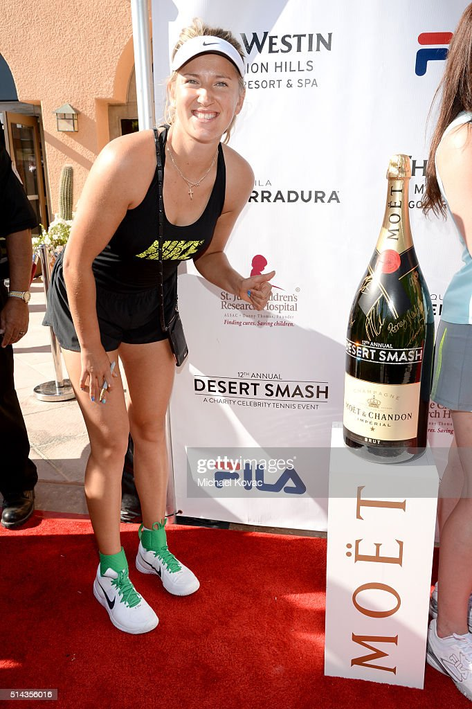Tennis player Victoria Azarenka celebrates with Moet & Chandon at the 12th annual Desert Smash at the Westin Mission Hills Golf Resort and Spa on March 8, 2016 in Rancho Mirage, California.