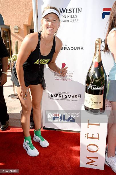 Tennis player Victoria Azarenka celebrates with Moet Chandon at the 12th annual Desert Smash at the Westin Mission Hills Golf Resort and Spa on March...