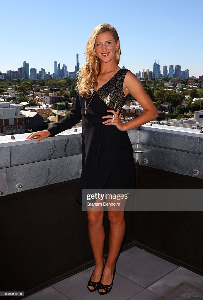 Tennis player <a gi-track='captionPersonalityLinkClicked' href=/galleries/search?phrase=Victoria+Azarenka&family=editorial&specificpeople=604872 ng-click='$event.stopPropagation()'>Victoria Azarenka</a> poses after meeting and being styled by Singer and TV presenter Dannii Minogue in one of her Project D dresses ahead of next week's Australian Open at The Cullen Hotel on January 15, 2011 in Melbourne, Australia.