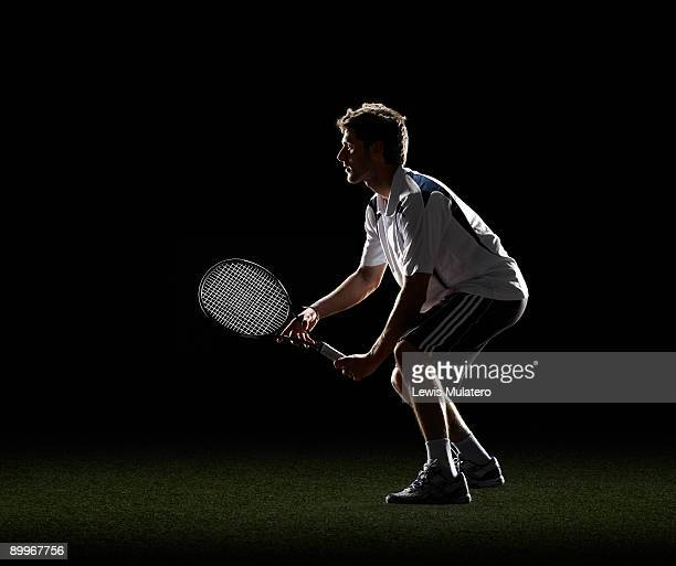 Tennis player waiting for a serve