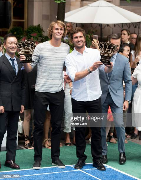 Tennis players Alexander Zverev Jr and Mischa Zverev pose for a photo during the 2017 Lotte New York Palace Invitational at Lotte New York Palace on...