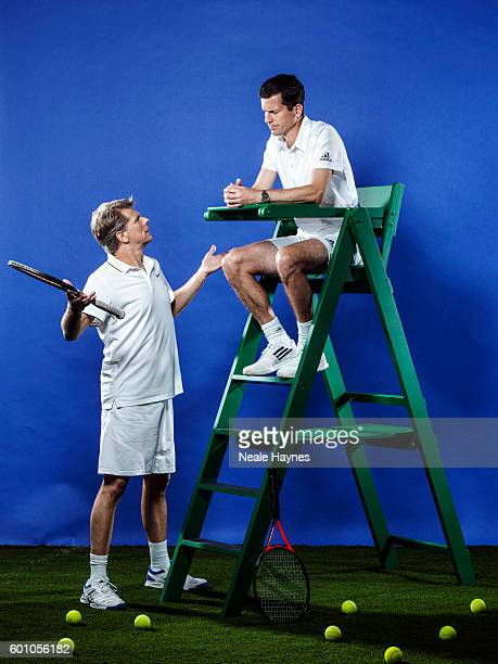 Tennis players and tv presenters Tim Henman and Andrew Castle are photographed for the Daily Mail on June 9 2016 in London England