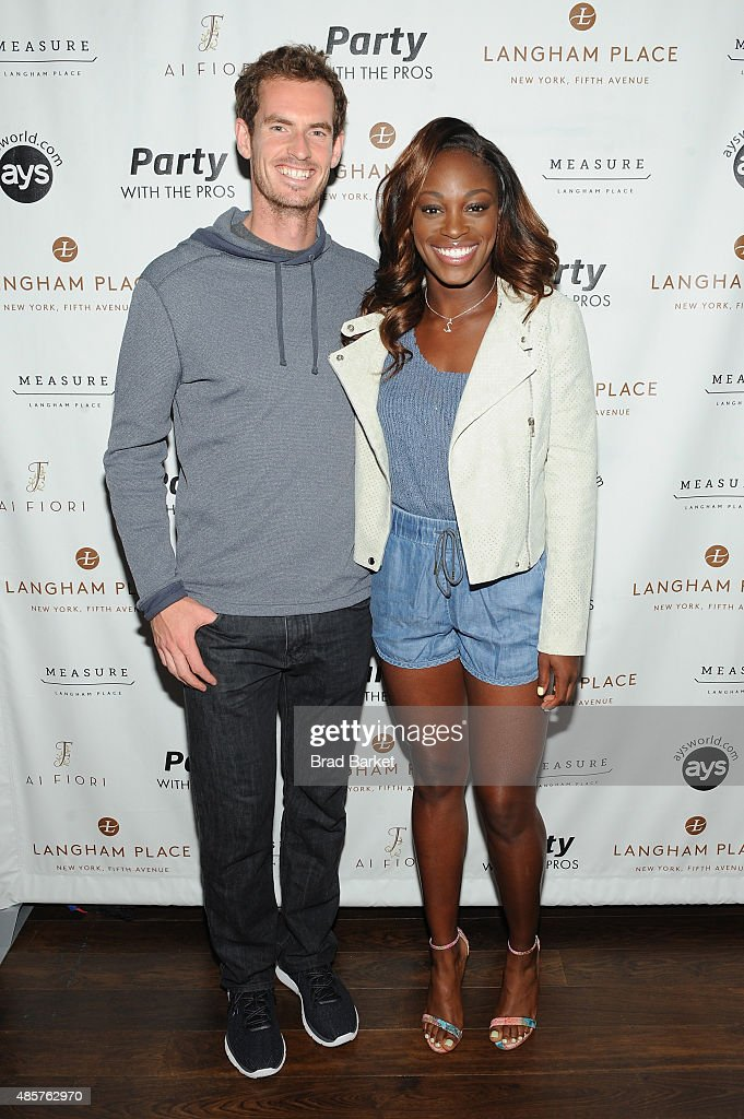 Tennis players Andy Murray (L) and Sloane Stephens attend Party with the Pros during Taste Of Tennis Week at Langham Place on August 29, 2015 in New York City.