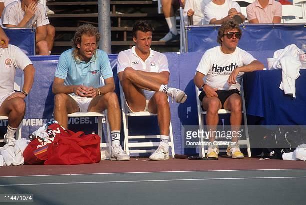 Tennis Players Bjorn Borg and Vitus Gerulatis at Charity Match in 1986 in Las Vegas Nevada