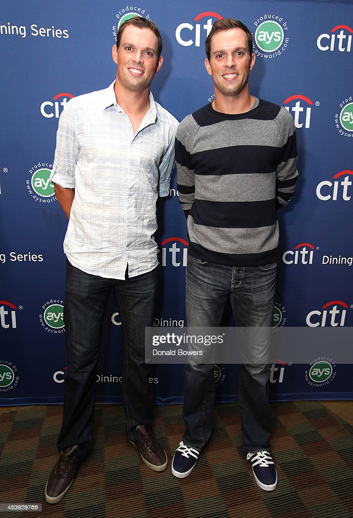 Tennis players <a gi-track='captionPersonalityLinkClicked' href=/galleries/search?phrase=Bob+Bryan+-+Tennis+Player&family=editorial&specificpeople=203335 ng-click='$event.stopPropagation()'>Bob Bryan</a> (L) and <a gi-track='captionPersonalityLinkClicked' href=/galleries/search?phrase=Mike+Bryan+-+Tennis+Player&family=editorial&specificpeople=204456 ng-click='$event.stopPropagation()'>Mike Bryan</a> attend Taste Of Tennis Week: Taste Of Tennis Gala at the W New York on August 21, 2014 in New York City.