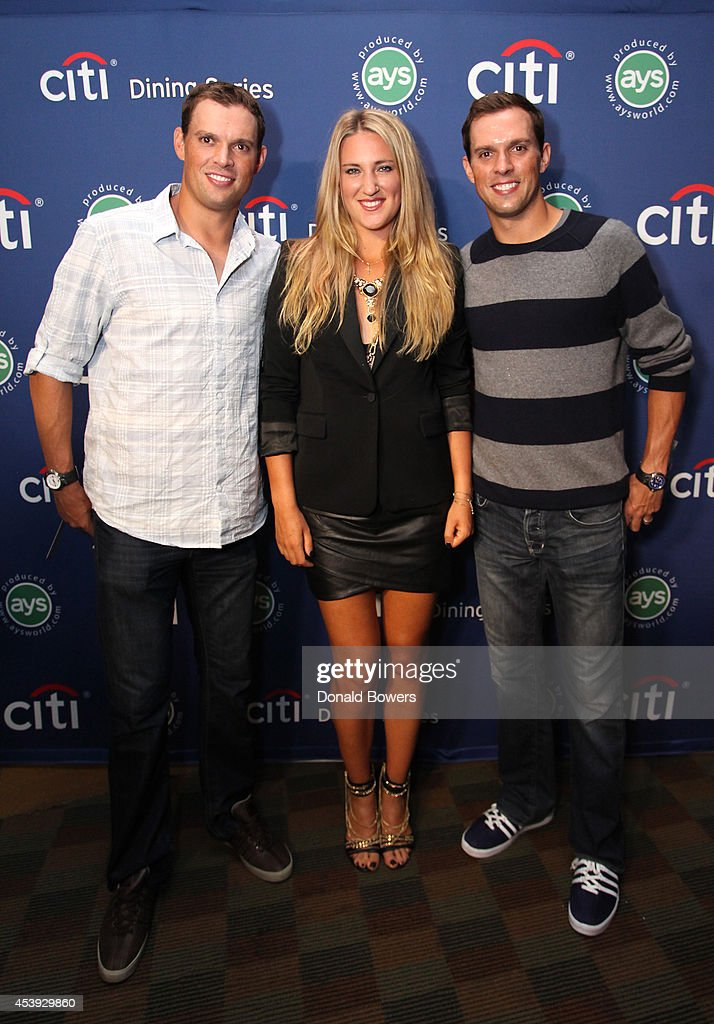 Tennis players <a gi-track='captionPersonalityLinkClicked' href=/galleries/search?phrase=Bob+Bryan+-+Tennis+Player&family=editorial&specificpeople=203335 ng-click='$event.stopPropagation()'>Bob Bryan</a>, <a gi-track='captionPersonalityLinkClicked' href=/galleries/search?phrase=Victoria+Azarenka&family=editorial&specificpeople=604872 ng-click='$event.stopPropagation()'>Victoria Azarenka</a>, and <a gi-track='captionPersonalityLinkClicked' href=/galleries/search?phrase=Mike+Bryan+-+Tennis+Player&family=editorial&specificpeople=204456 ng-click='$event.stopPropagation()'>Mike Bryan</a> attend Taste Of Tennis Week: Taste Of Tennis Gala at the W New York on August 21, 2014 in New York City.