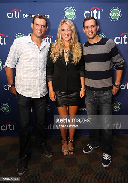 Tennis players Bob Bryan Victoria Azarenka and Mike Bryan attend Taste Of Tennis Week Taste Of Tennis Gala at the W New York on August 21 2014 in New...