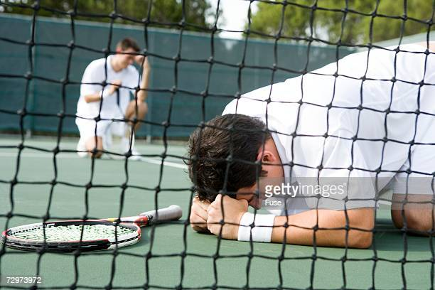 Tennis players expressing frustration