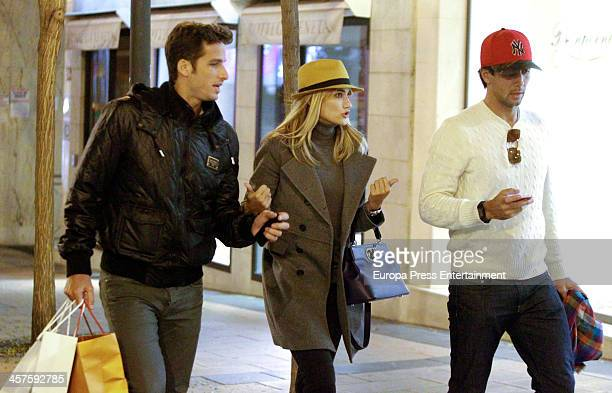 Tennis players Feliciano Lopez and Fernando Verdasco and Feliciano's girlfrirend Spanish model Alba Carrillo are seen going for Christmas shopping on...