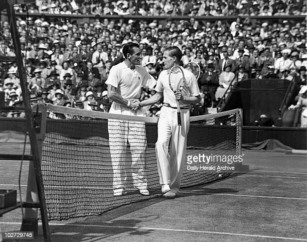 Tennis players Fred Perry and Von Cramm at Wimbledon 5 July 1935 ' Perry and Gottfried von Cramm shaking hands after Perry's victory in the men's...