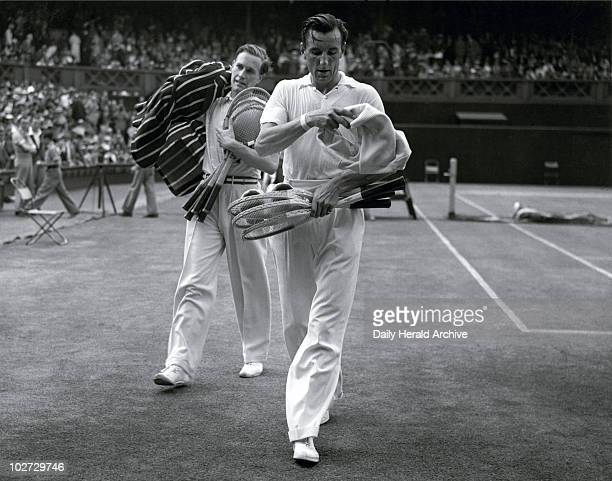 Tennis players Fred Perry and Von Cramm at Wimbledon 5 July 1935 Perry and Von Cramm leaving the court after Perry's victory in the men's singles...