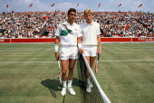 Tennis players Ivan Lendl and Boris Becker during the final match of the Stella Artois Championships held at the Queen's Club on June 17 1990 in...