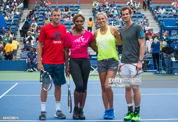 Tennis players Jack Sock Serena Williams Victoria Azarenka and Andy Murray attend the 2014 Arthur Ashe Kids' Day at USTA Billie Jean King National...
