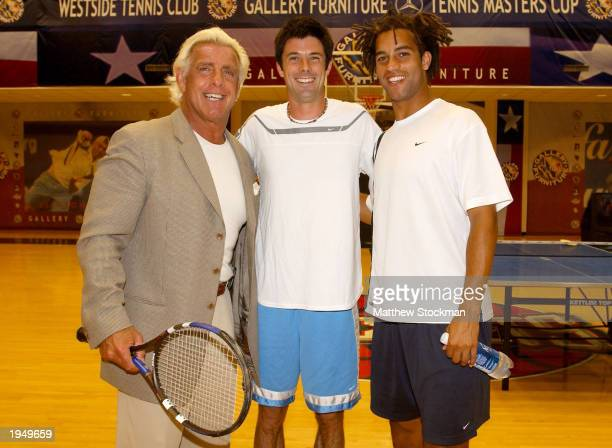 ATP tennis players Jeff Morrison and James Blake meet wrestling legend Ric Flair during the US Men's Clay Court Court Championships on April 22 2003...