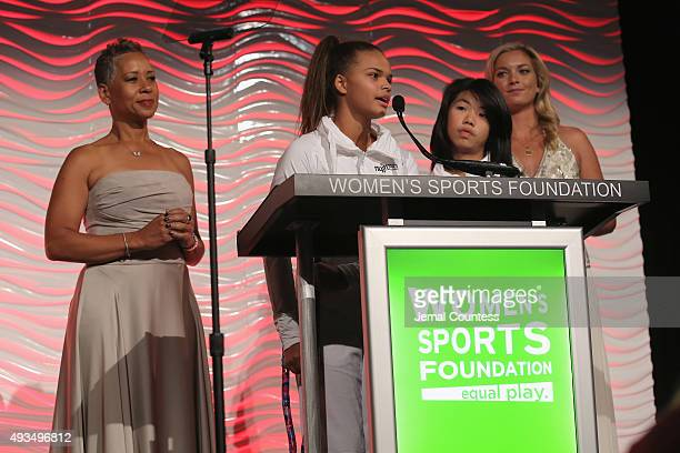 Tennis players Katrina Adams and Coco Vandeweghe speak onstage during the 36th Annual Salute to Women In Sports at Cipriani Wall Street on October 20...