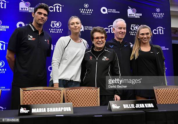 Tennis players Mark Philippoussis Maria Sharapova former tennis players Billie Jean King and John McEnroe and tennis player Taylor Johnson attend a...