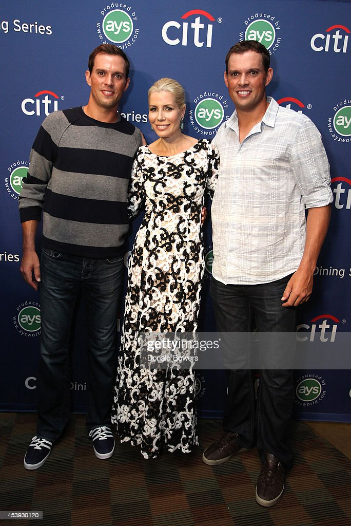 Tennis players <a gi-track='captionPersonalityLinkClicked' href=/galleries/search?phrase=Mike+Bryan+-+Tennis+Player&family=editorial&specificpeople=204456 ng-click='$event.stopPropagation()'>Mike Bryan</a> (L) and <a gi-track='captionPersonalityLinkClicked' href=/galleries/search?phrase=Bob+Bryan+-+Tennis+Player&family=editorial&specificpeople=203335 ng-click='$event.stopPropagation()'>Bob Bryan</a> (R), and <a gi-track='captionPersonalityLinkClicked' href=/galleries/search?phrase=Aviva+Drescher&family=editorial&specificpeople=8624423 ng-click='$event.stopPropagation()'>Aviva Drescher</a> attend Taste Of Tennis Week: Taste Of Tennis Gala at the W New York on August 21, 2014 in New York City.