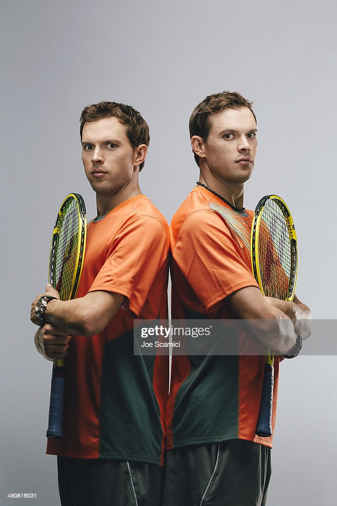Tennis players <a gi-track='captionPersonalityLinkClicked' href=/galleries/search?phrase=Mike+Bryan&family=editorial&specificpeople=204456 ng-click='$event.stopPropagation()'>Mike Bryan</a>, <a gi-track='captionPersonalityLinkClicked' href=/galleries/search?phrase=Bob+Bryan&family=editorial&specificpeople=203335 ng-click='$event.stopPropagation()'>Bob Bryan</a> are photographed for Self Assignment on December 16, 2012 in Wesley Chapel, Florida.