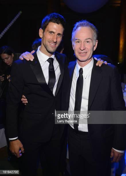 Tennis players Novak Djokovic and John McEnroe attend The Novak Djokovic Foundation's inaugural dinner at Capitale on September 12 2012 in New York...