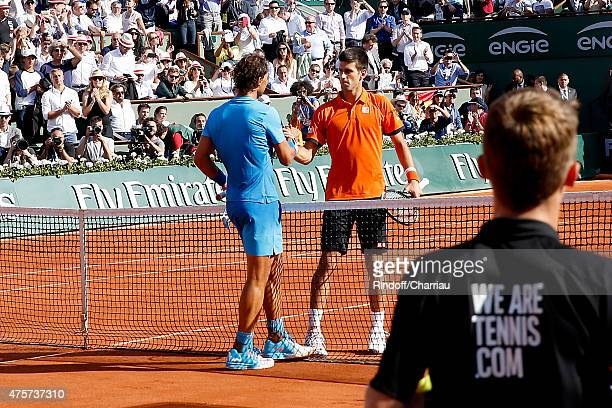 Tennis Players Novak Djokovic wons agains Rafael Nadal during the 2015 Roland Garros French Tennis Open Quarter Final Day Eleven on June 3 2015 in...
