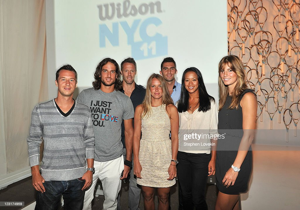 Tennis players <a gi-track='captionPersonalityLinkClicked' href=/galleries/search?phrase=Philipp+Kohlschreiber&family=editorial&specificpeople=225202 ng-click='$event.stopPropagation()'>Philipp Kohlschreiber</a>, <a gi-track='captionPersonalityLinkClicked' href=/galleries/search?phrase=Feliciano+Lopez&family=editorial&specificpeople=206172 ng-click='$event.stopPropagation()'>Feliciano Lopez</a>, <a gi-track='captionPersonalityLinkClicked' href=/galleries/search?phrase=Robert+Lindstedt&family=editorial&specificpeople=632509 ng-click='$event.stopPropagation()'>Robert Lindstedt</a>, Barbora Zahlavova Strycova, <a gi-track='captionPersonalityLinkClicked' href=/galleries/search?phrase=Horia+Tecau&family=editorial&specificpeople=820211 ng-click='$event.stopPropagation()'>Horia Tecau</a>, <a gi-track='captionPersonalityLinkClicked' href=/galleries/search?phrase=Anne+Keothavong&family=editorial&specificpeople=226838 ng-click='$event.stopPropagation()'>Anne Keothavong</a> and <a gi-track='captionPersonalityLinkClicked' href=/galleries/search?phrase=Mandy+Minella&family=editorial&specificpeople=3378502 ng-click='$event.stopPropagation()'>Mandy Minella</a> attend the Wilson Racquet Sports Fashion Show at Exit Art on August 31, 2011 in New York City.